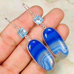 PRETTY BLUE BOTSWANA AGATE/BLUE TOPAZ EARRINGS